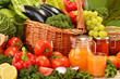 Wicker basket with assorted organic vegetables and fruits