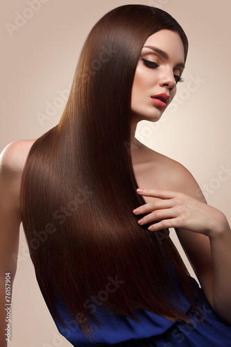 Hair. Portrait of Beautiful Woman with Long Brown Hair. High qua Poster