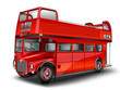 roter Bus - Cabriolet. Englischer Doppeldeckerbus, freigestellt - 76158196