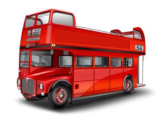 roter Bus - Cabriolet. Englischer Doppeldeckerbus, freigestellt