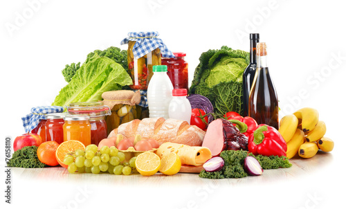Fotobehang Kruidenierswinkel Composition with variety of grocery products isolated on white