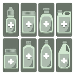 Vector set of cute medicine bottle on isolated background