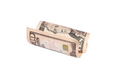 Rolled up ten dollar bill