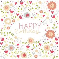 pastel floral birthday pattern card