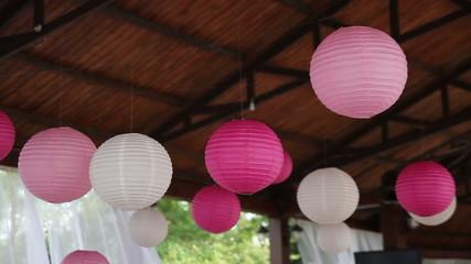 balls on the ceiling in restaurant