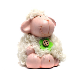 ceramic toy sheep with real fur