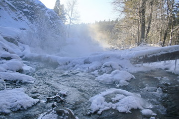 Winter mountain stream.