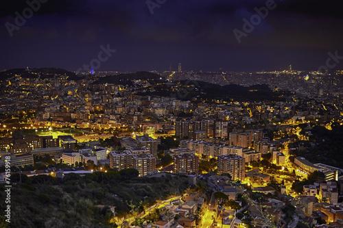 Barcelona skyline at night