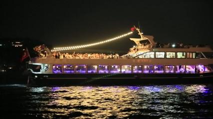 Cruising ship docking on Galata pier on Bosporus, Istanbul, Turk