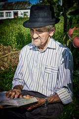Expressive old farmer, close-up