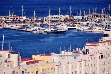 View of Denia Port with yachts at Costa Blanca