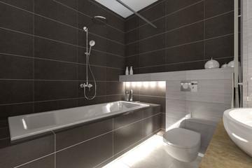 Grey bathroom interior