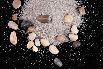 stones and sand
