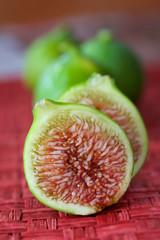 Green Italian Figs in a Row