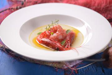 king prawns on plate