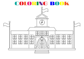Picture of school buildings - coloring book