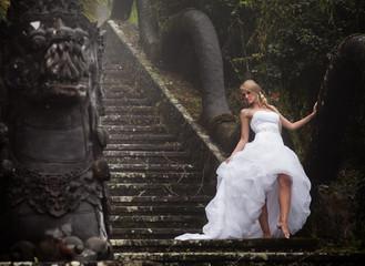 bride in fairy park in Bali