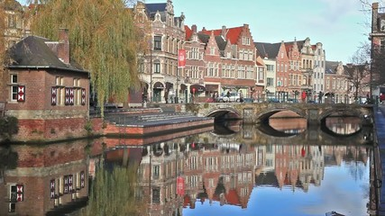 Old buildings, canal and bridge in Lier