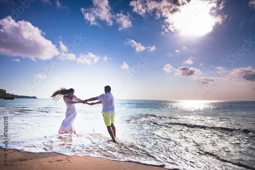 canvas print picture wedding couple just married