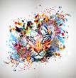 яркий абстрактный фон с тигром - 76163566