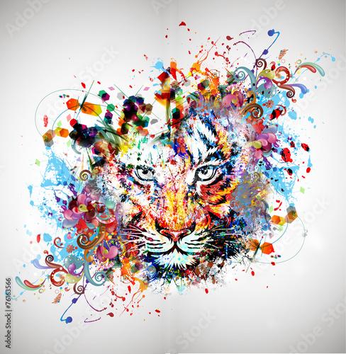 Fotobehang Reznik яркий абстрактный фон с тигром