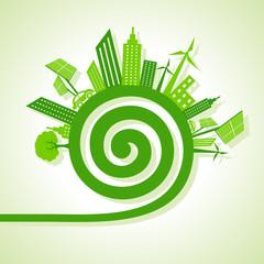 Ecology Concept - eco cityscape with spiral design stock vector