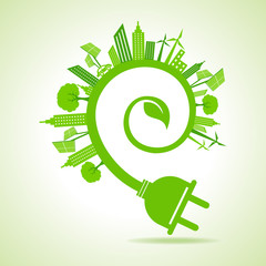 Ecology Concept - eco cityscape with leaf and electric plug