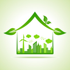 Ecology Concept - eco cityscape with home stock vector