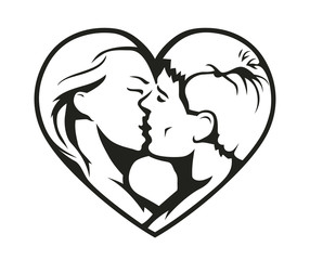 Couple kissing in the heart symbol. Eps8 vector illustration.
