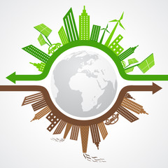 Ecology Concept - eco and polluted cityscape stock vector