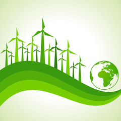 Ecology Concept - wind mill with earth stock vector