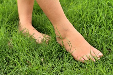 Foot on the green grass in the lawn.