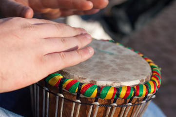 detail on a drum performance during a party
