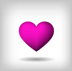 Pink isolated heart on light background