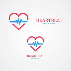 Logo combination of a heart and pulse.