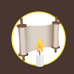 ancient scroll and candle elements for logo and web