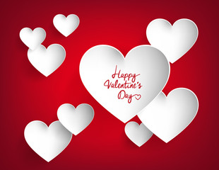 White hearts on red background. Happy Valentine's Day heart