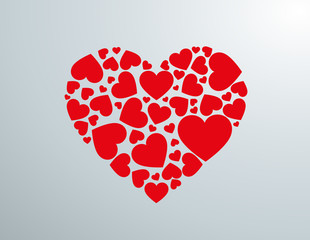 Red love heart made of hearts. Vector illustration