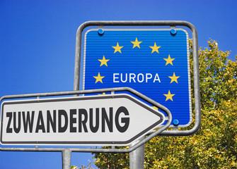 Schilder Zuwanderung Europa