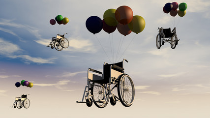 Wheelchair and sky