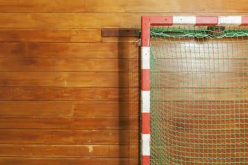 Retro indoor gymnasium goal