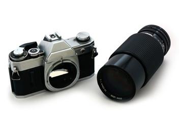 Spiegelreflexkamera mit Teleobjektiv
