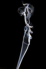 white smoke from the burned matchstick