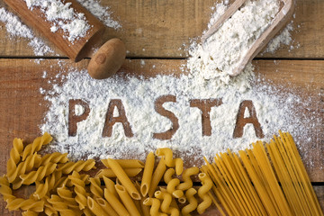 Pasta word with background