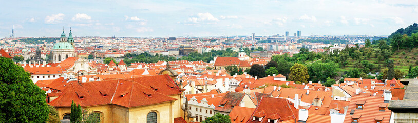 Prague panorama from a lookout close to the Prague Castle