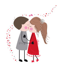 Kissing couple valentine day card