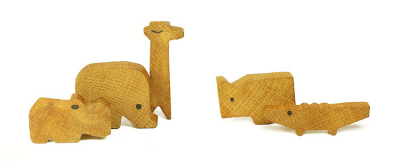 Five wooden toys in the form of the African animals