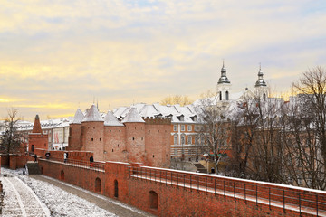 Warsaw Barbican in the capital city of Poland