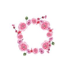 watercolor pink flowers wreath