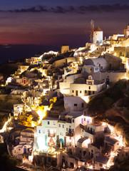 Oia village by night in Santorini island